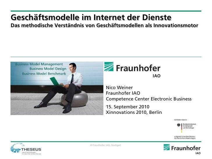 Geschäftsmodelle im Internet der Dienste Das methodische Verständnis von Geschäftsmodellen als Innovationsmotor           ...