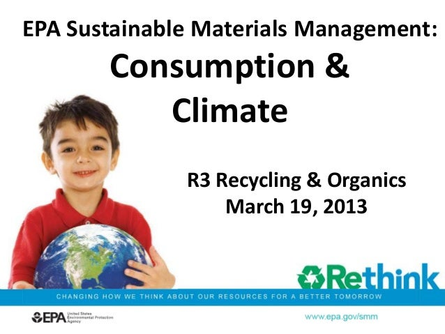 R3 Recycling & OrganicsMarch 19, 2013EPA Sustainable Materials Management:Consumption &Climate