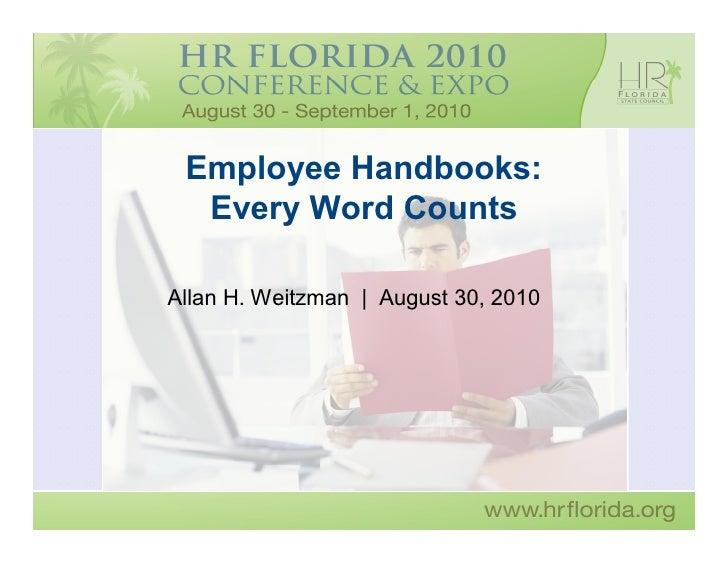 Weitzman - Employee Handbooks:  Every Word Counts