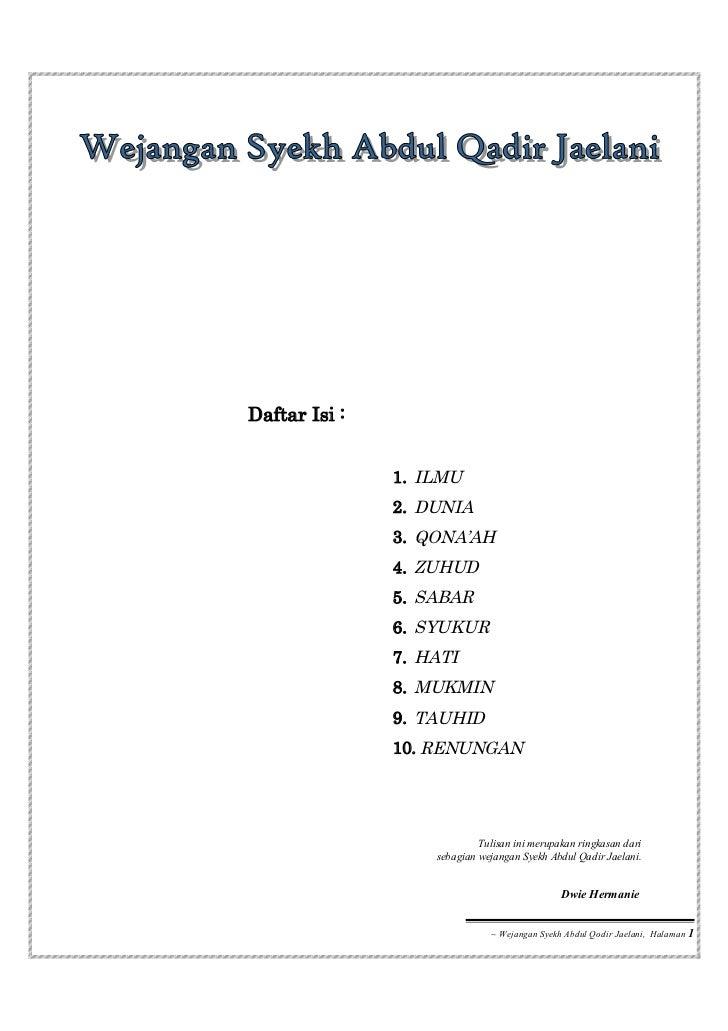 Wejangan Syekh Abdul Qadir Jaelani
