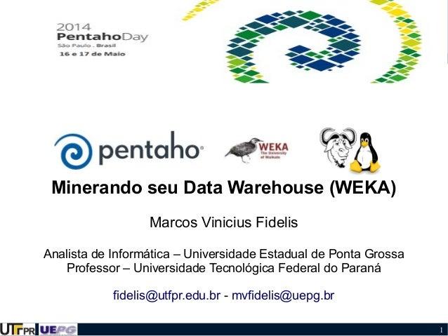 1 Minerando seu Data Warehouse (WEKA) Marcos Vinicius Fidelis Analista de Informática – Universidade Estadual de Ponta Gro...