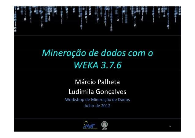 Mineração de dados com o      WEKA 3.7.6        Márcio Palheta      Ludimila Gonçalves     Workshop de Mineração de Dados ...
