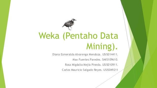 Weka (Pentaho Data Mining). Diana Esmeralda Alvarenga Mendoza. USIS014411. Max Fuentes Paredes. SMIS109610. Rosa Migdalia ...