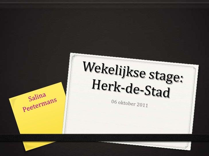 Wekelijkse stage 06/10