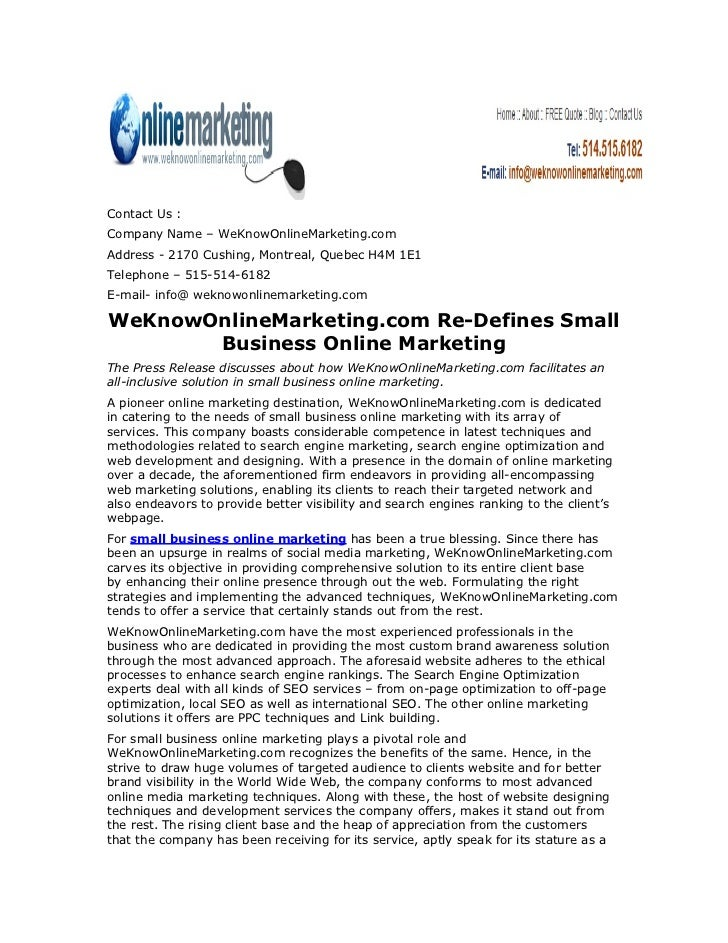 WeKnowOnlineMarketing.com Re-Defines Small Business Online Marketing