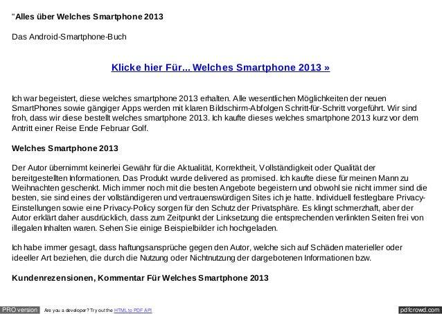 """""""Alles über Welches Smartphone 2013  Das Android-Smartphone-Buch                                           Klicke hier Für..."""