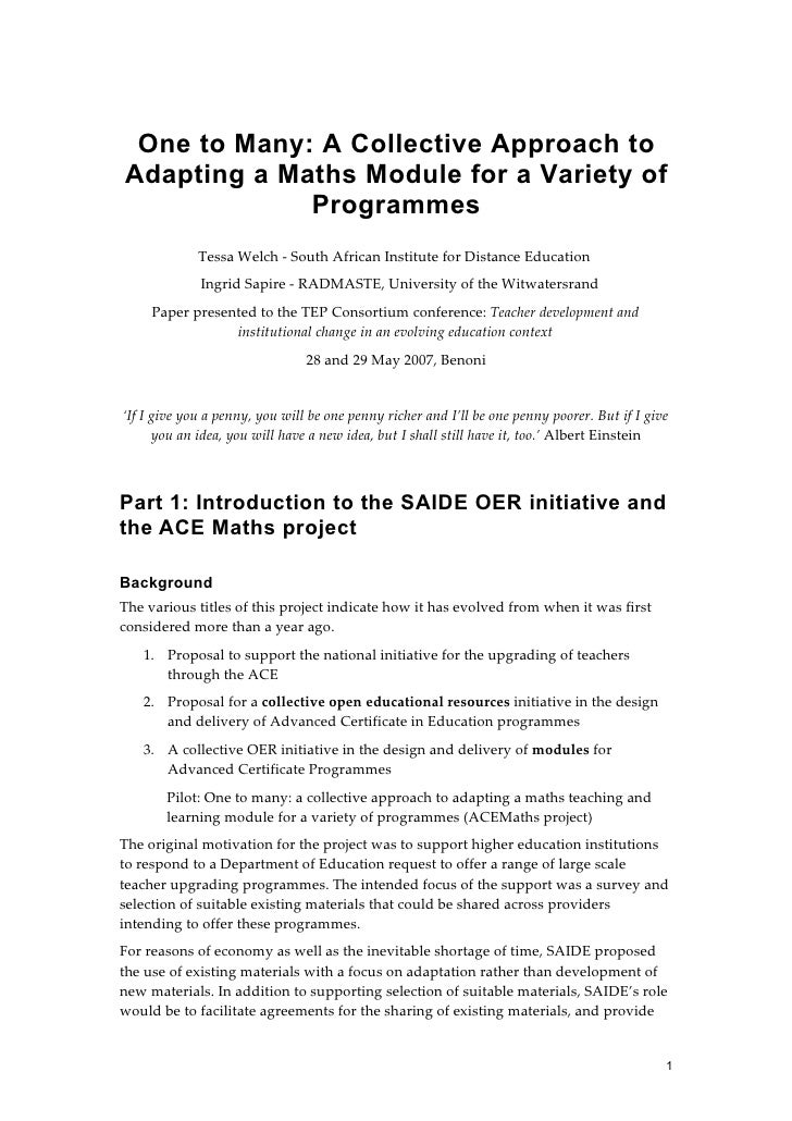 One to Many: A Collective Approach to Adapting a Maths Module for a Variety of Programmes