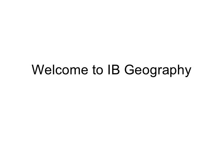 Welcome to IB Geography