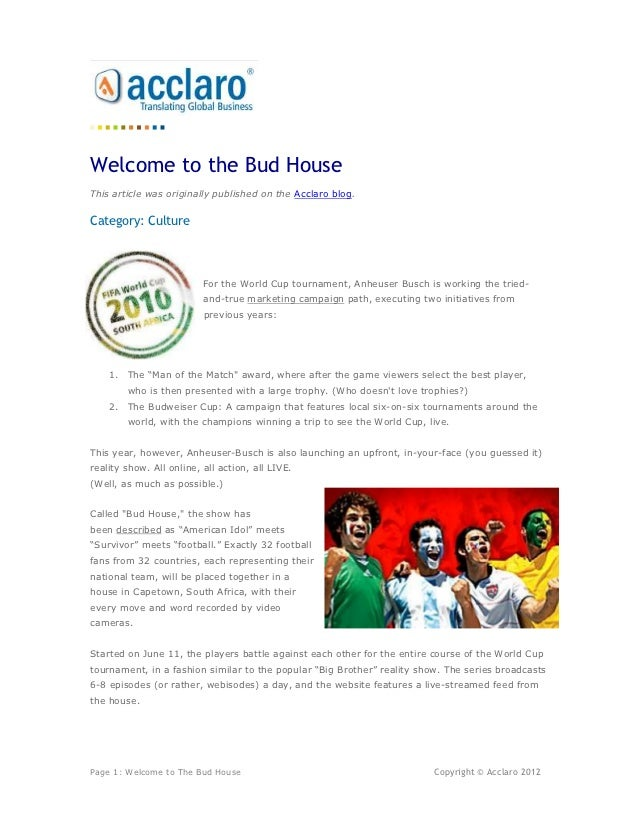 Welcome to the Bud House