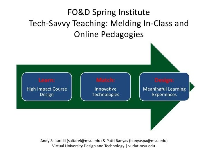 FO&D Spring InstituteTech-Savvy Teaching: Melding In-Class and           Online Pedagogies  Andy Saltarelli (saltarel@msu....