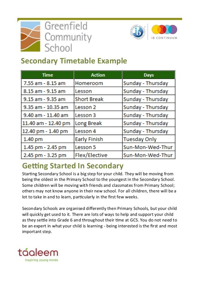 Secondary School Timetables Secondary Timetable Example
