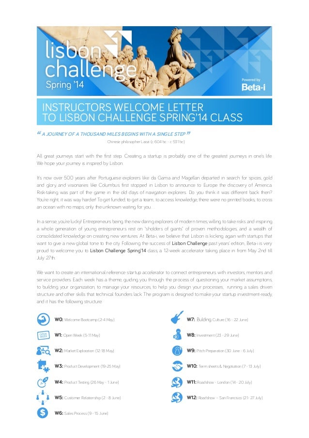 Instructors Welcome Letter to Lisbon Challenge Spring'14 Class
