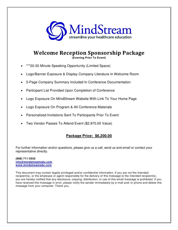Welcome Reception Sponsorship Package