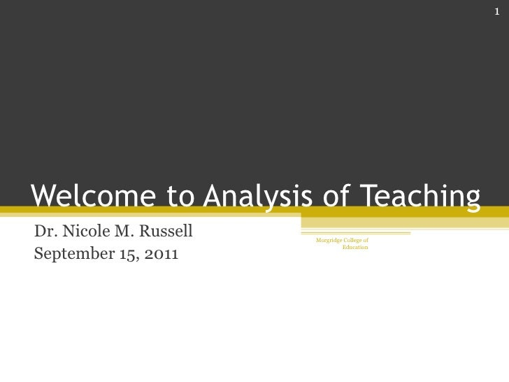 Welcome to analysis of teaching
