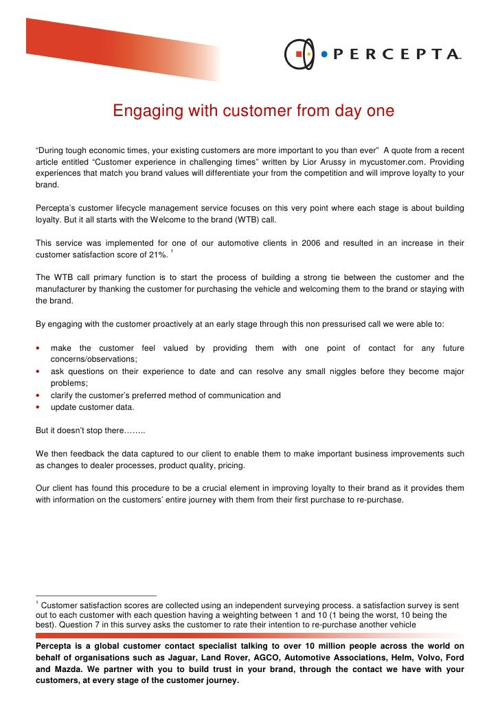 """Engaging with customer from day one  """"During tough economic times, your existing customers are more important to you than ..."""