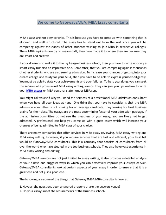 MBA Essay Help | TopMBA com