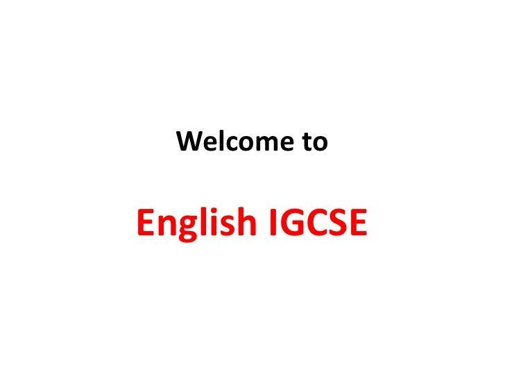 Welcome to igcse english