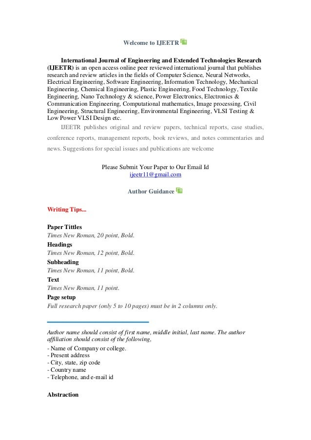 Welcome to IJEETR International Journal of Engineering and Extended Technologies Research (IJEETR) is an open access onlin...