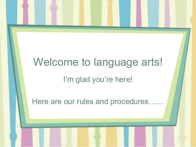 Welcome to Language Arts, Ms. Beach