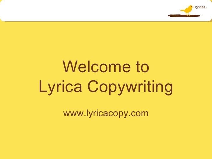 Welcome To Lyrica Copywriting