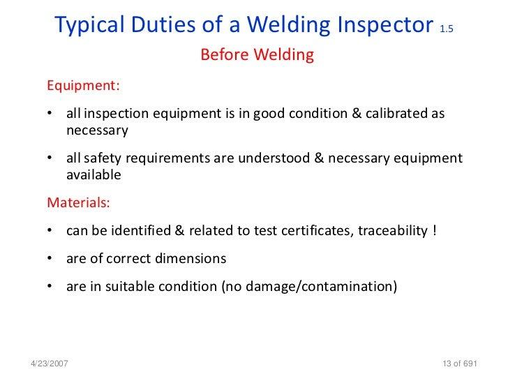 Welding inspection cswip A 1 inspections