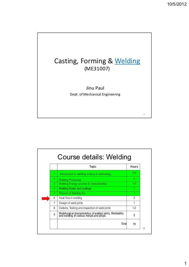 10/5/2012Casting,Forming&WeldingCasting Forming & Welding                             (ME31007)                       ...