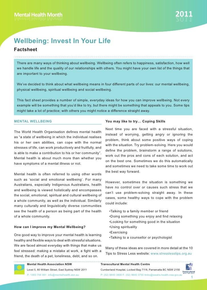 Wellbeing 2011  Fact  Sheet  English