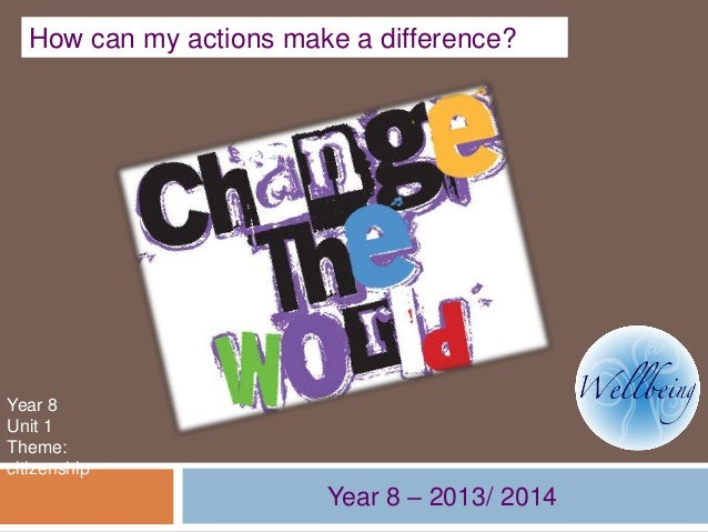 How can my actions make a difference?  Year 8 Unit 1 Theme: citizenship  Year 8 – 2013/ 2014