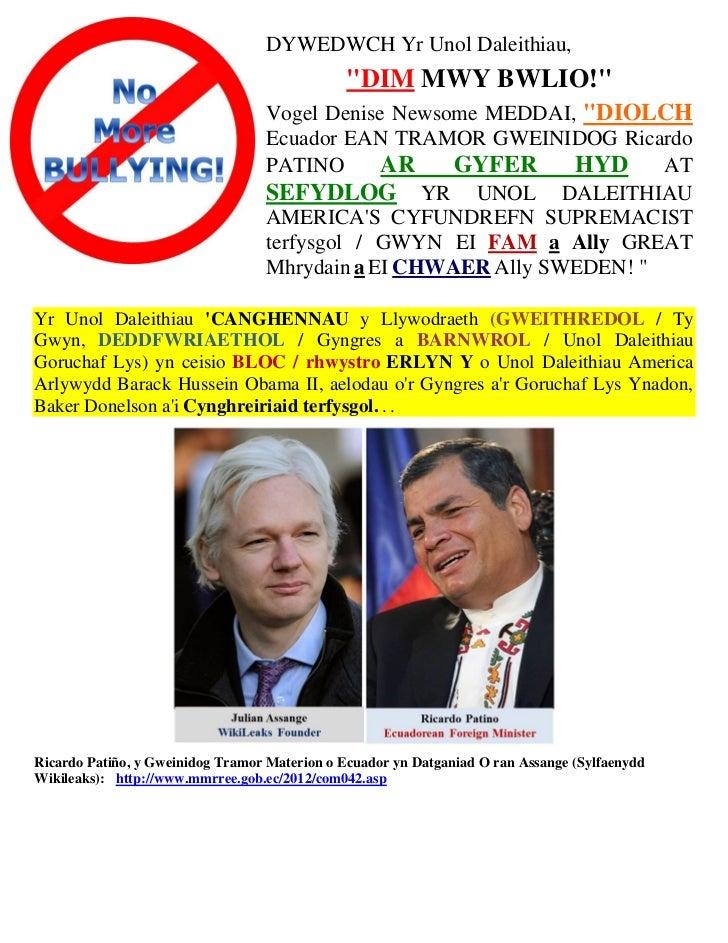 Welsh   thank you to  republic of ecuador (asylum of julian assange)