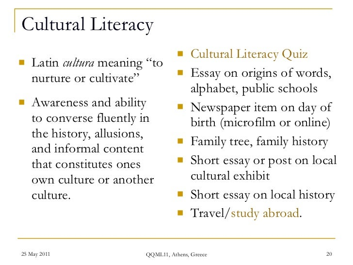 what literacy means essay Reading becomes a means for learning subject matter, and texts there is only one way to acquire the language of literacy, and that is through literacy itself.