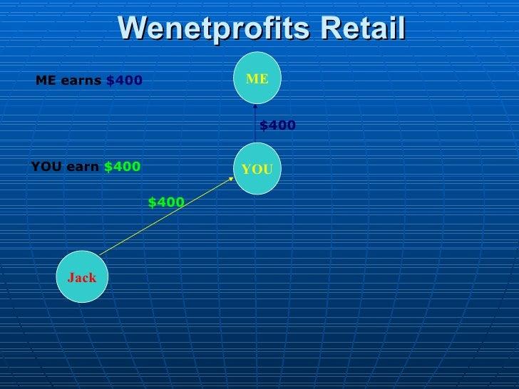 Wenetprofits Retail ME YOU Jack $400 $400 ME earns  $400 YOU earn  $400