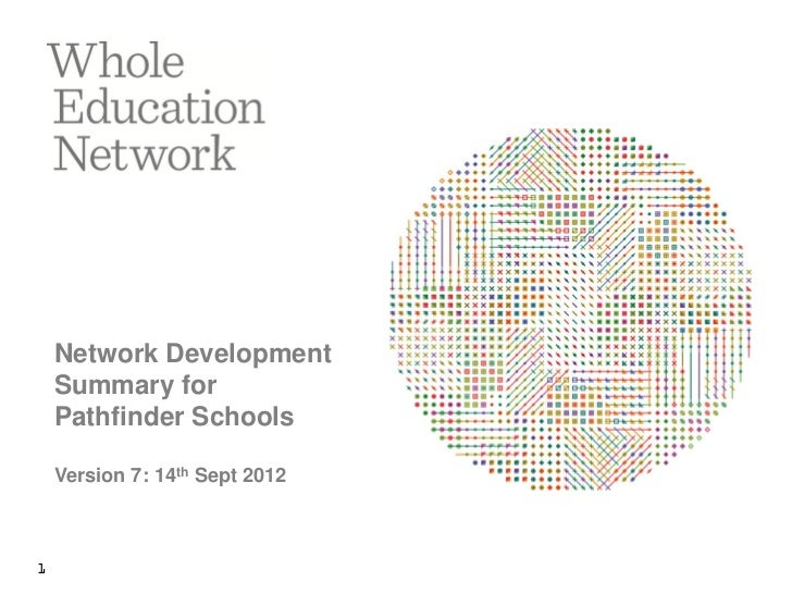Network Development    Summary for    Pathfinder Schools    Version 7: 14th Sept 20121
