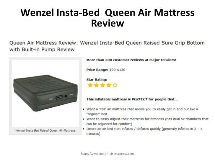 Wenzel Insta-Bed  Queen Air Mattress Review<br />http://www.queen-air-mattress.com<br />