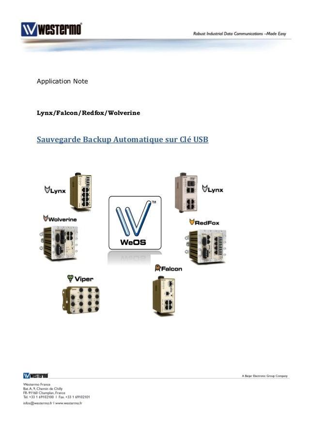 Application Note Lynx/Falcon/Redfox/Wolverine Sauvegarde Backup Automatique sur Clé USB