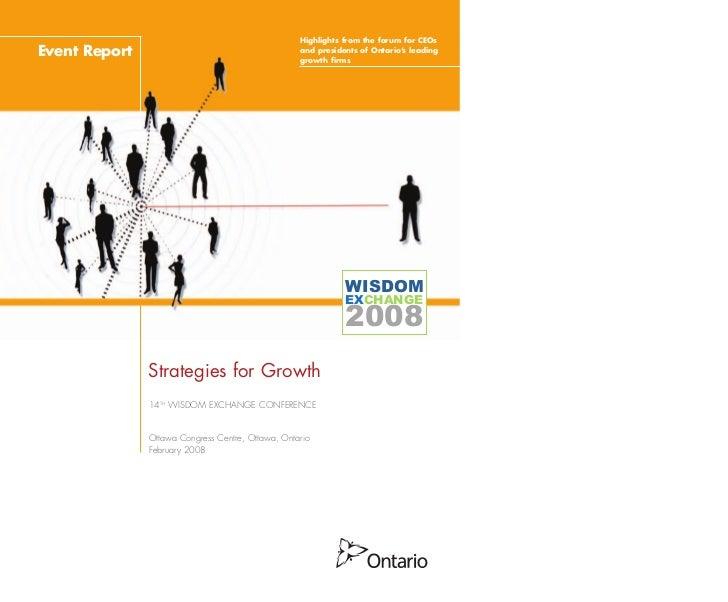 Wisdom Exchange 2008 - Strategies for Growth