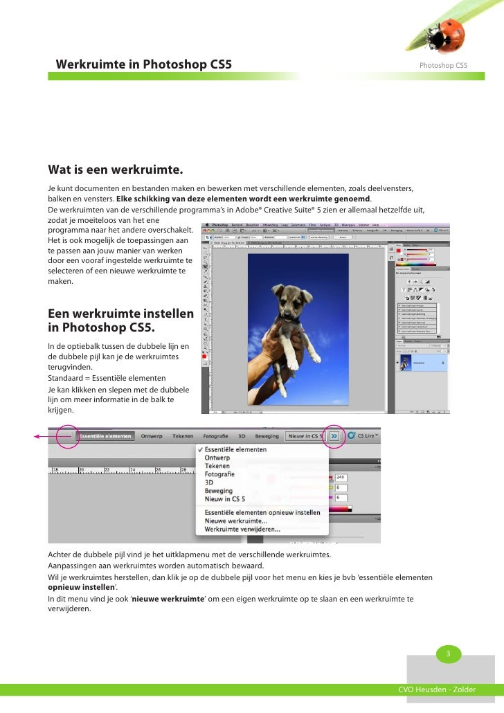 Werkruimte in Photoshop CS5                                                                               Photoshop CS5Wat...