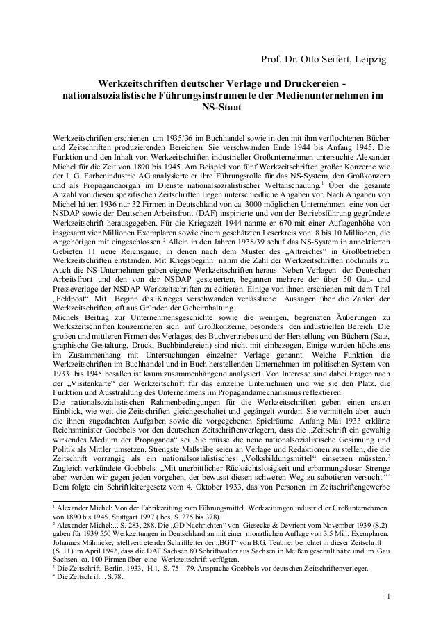 Prof. Dr. Otto Seifert, Leipzig Werkzeitschriften deutscher Verlage und Druckereien - nationalsozialistische Führungsinstr...