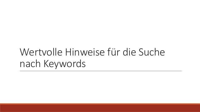 Wertvolle Hinweise für die Suche nach Keywords