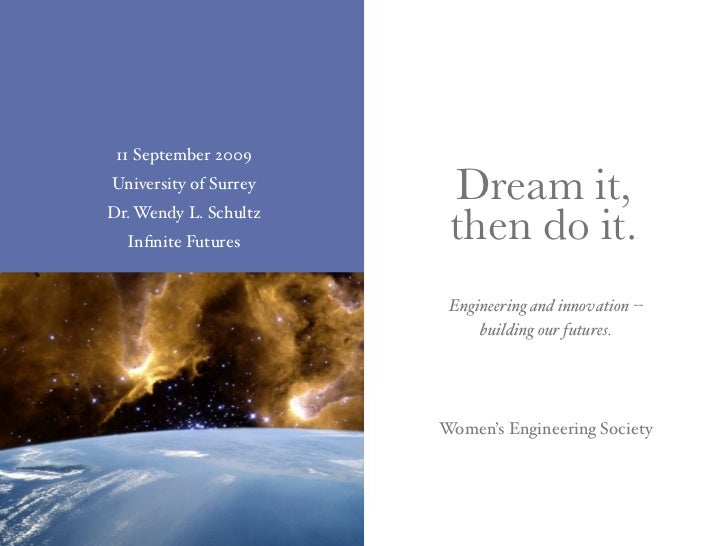 11 September 2009 University of Surrey                         Dream it, Dr. Wendy L. Schultz   Infinite Futures       then...