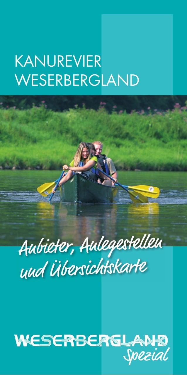 KANUREVIER WESERBERGLAND  Anbieter, Anlegestellen und Übersichtskarte  Spezial