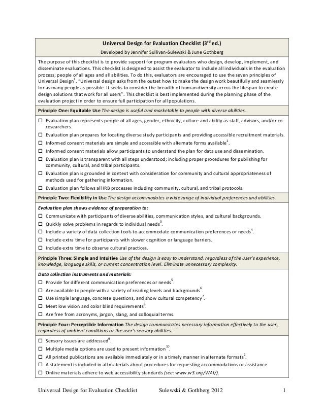 Universal Design for Evaluation Checklist (3rd ed.) Developed by Jennifer Sullivan-Sulewski & June Gothberg The purpose of...