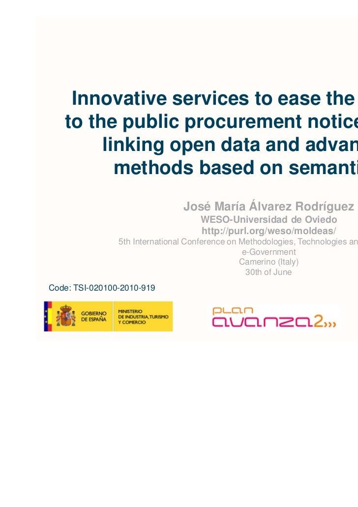 Innovative services to ease the access   to the public procurement notices using        linking open data and advanced    ...