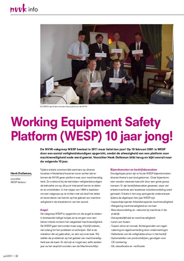 info                            De WESP-oprichters met een bestuurslid van de NVVK.      Working Equipment safety      pla...