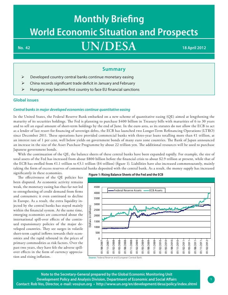 Monthly Briefing           World Economic Situation and Prospects   No. 42                                    UN/DESA    ...