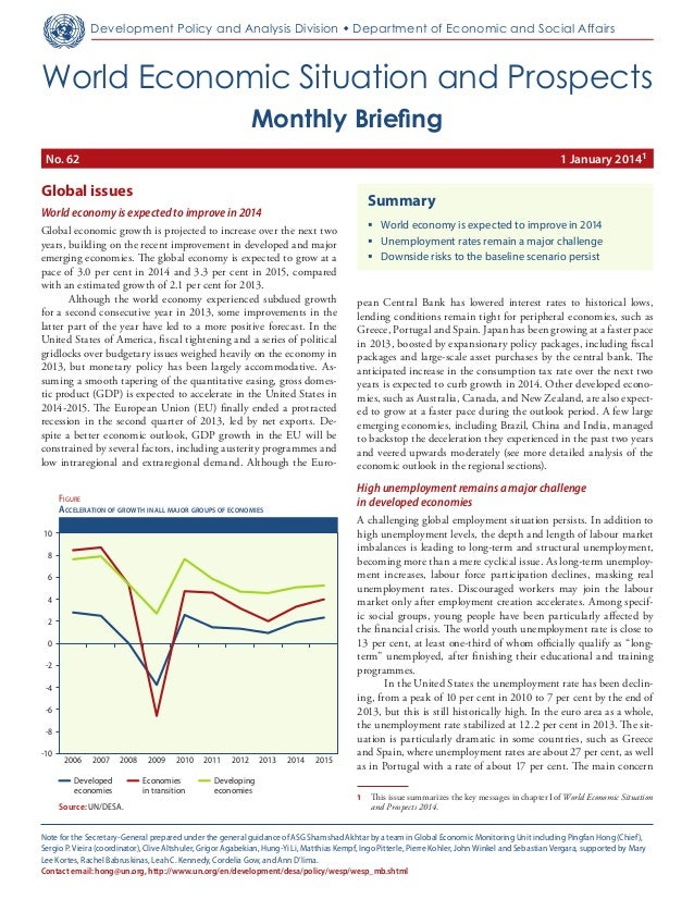 Monthly Briefing on the World Economic Situation and Prospects (WESP), No. 62