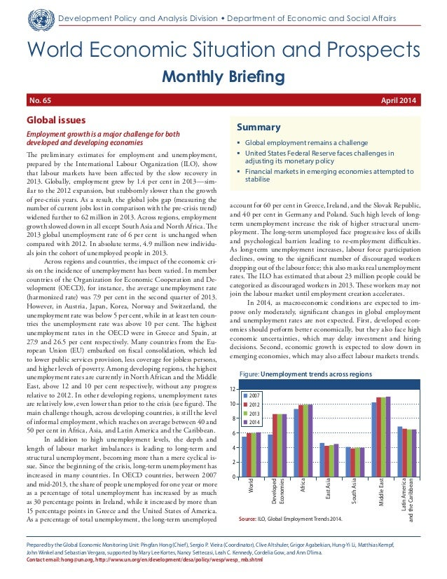Monthly Briefing on the World Economic Situation and Prospects (WESP), No. 65