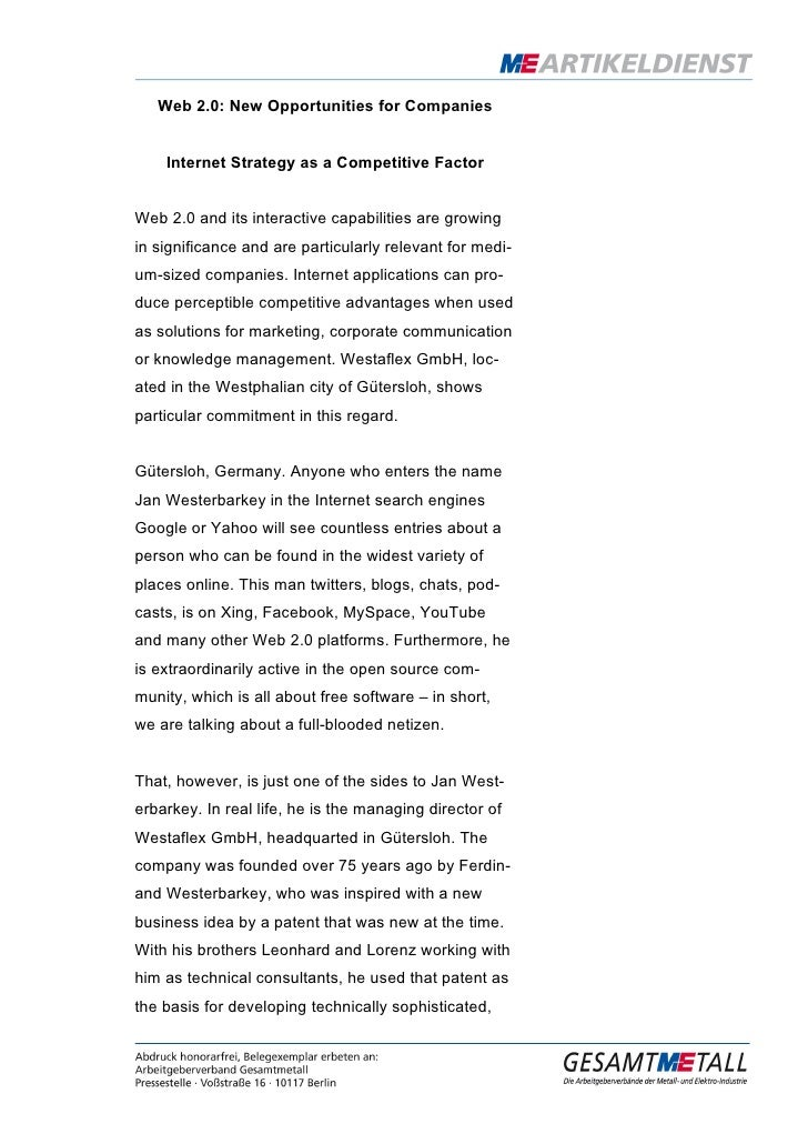 Web 2.0: New Opportunities for Companies       Internet Strategy as a Competitive Factor   Web 2.0 and its interactive cap...