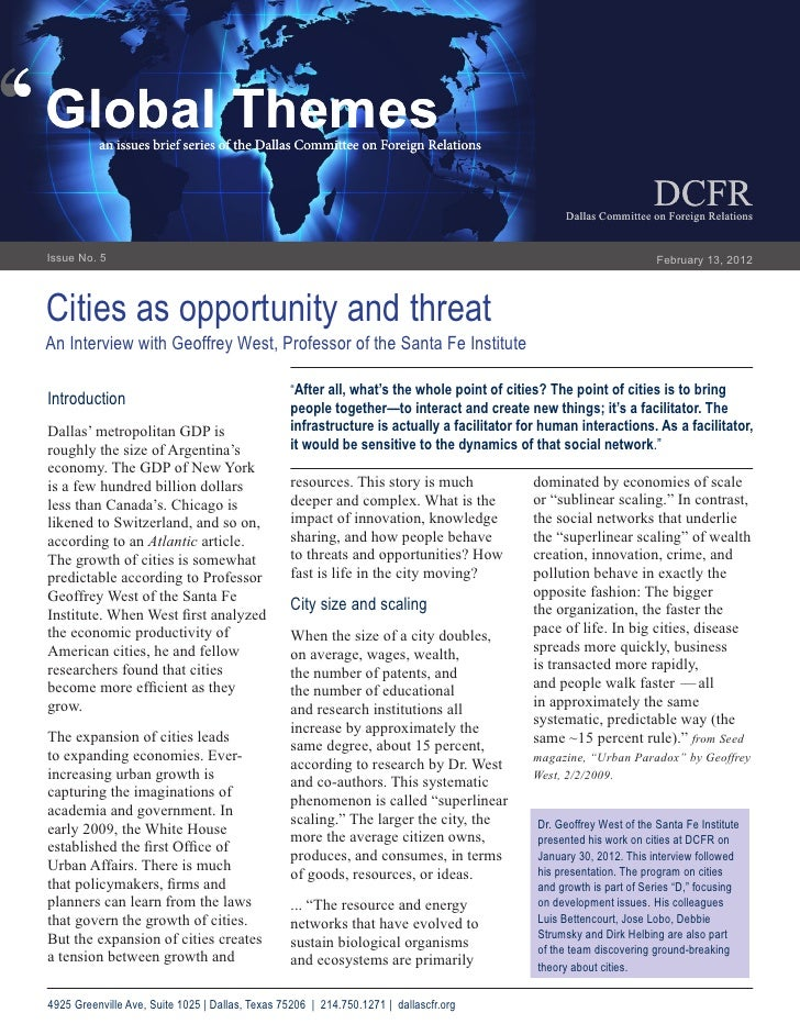 Cities as Opportunity and Threat