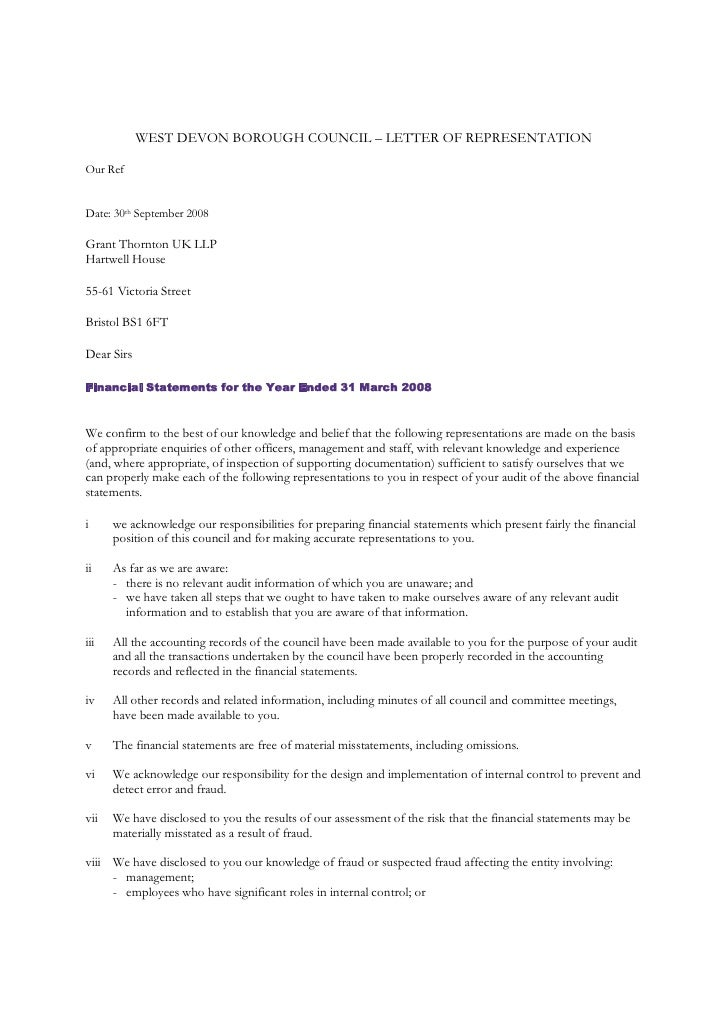 West Devon Borough Council Letter Of Representation Our Ref Date