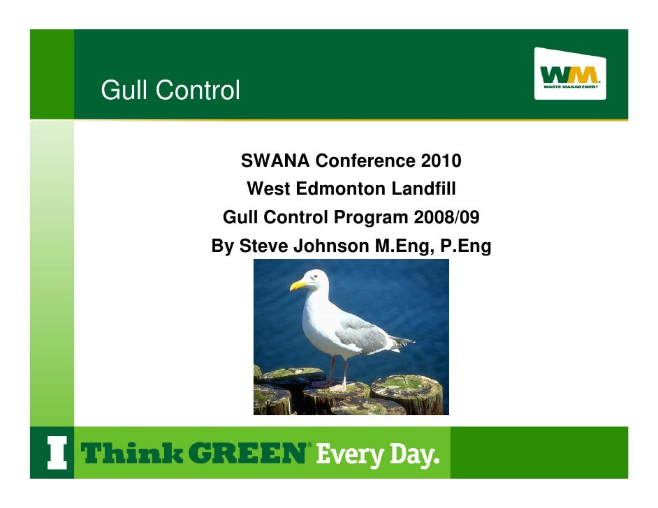 Gull Control                 SWANA Conference 2010                West Edmonton Landfill           Gull Control Program 20...